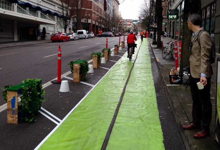 Protected Bike lane demo